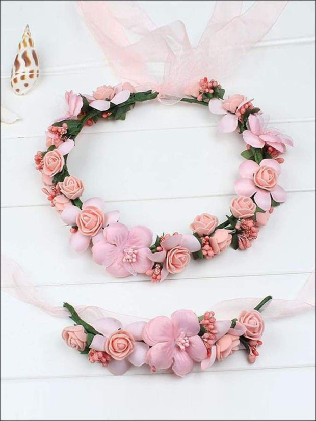 Girls Flower Halo Set - Peachy Pink / One - Flower Halo