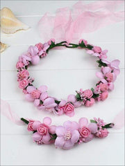 Girls Flower Halo Set - Rose Pink / One - Flower Halo