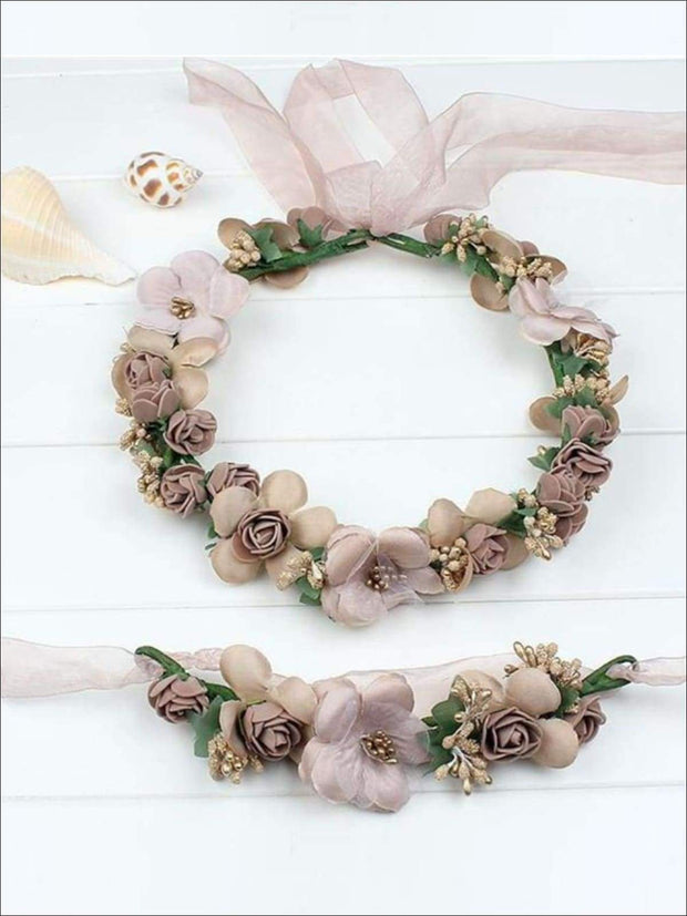 Girls Flower Halo Set - Taupe/Beige / One - Flower Halo