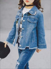 Girls Flower Patch Distressed Frayed Hem Denim Jacket - Girls Jacket