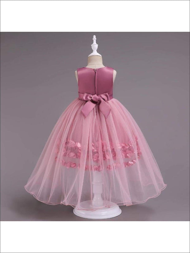 Girls Flower Petals Tulle Tutu Special Occassion Dress - Girls Fall Dressy Dress