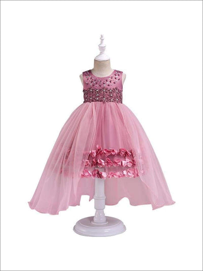 Girls Flower Petals Tulle Tutu Special Occassion Dress - Pink / 3T - Girls Fall Dressy Dress