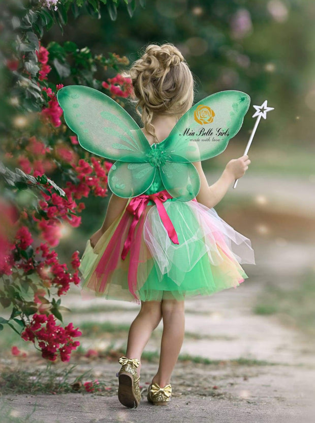 Girls Flower Sequined Tinkerbell Inspired Halloween Costume - Girls Halloween Costume