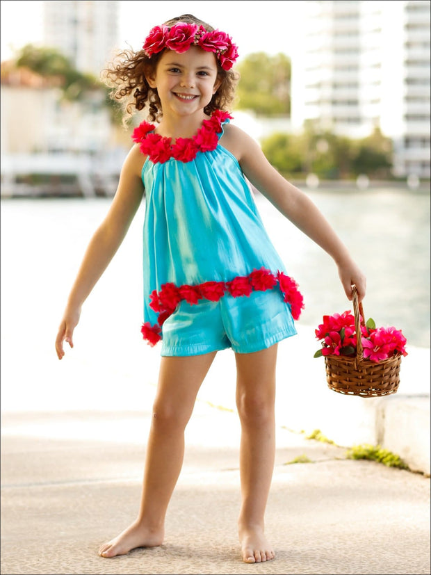 Girls Flower Trim Hi-Lo Circle Neck Tunic & Short Set - Girls Spring Casual Set