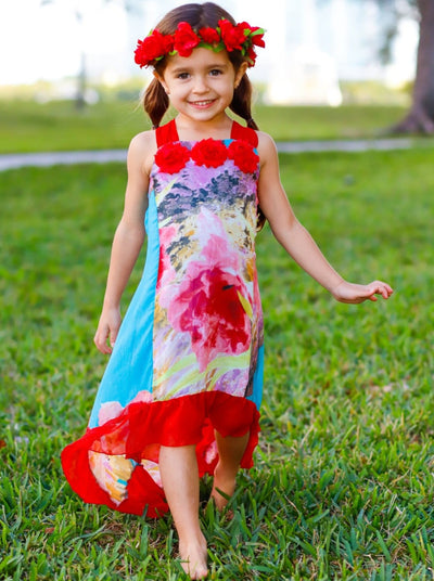 Girls Flower Trim Side Tail Ruffle Hem Dress - Girls Spring Dressy Dress