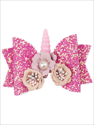 Girls Flower Unicorn Glitter Hair Bow - Hot Pink - Hair Accessories