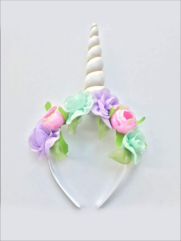 Girls Flower Unicorn Headband - Ivory - Hair Accessories