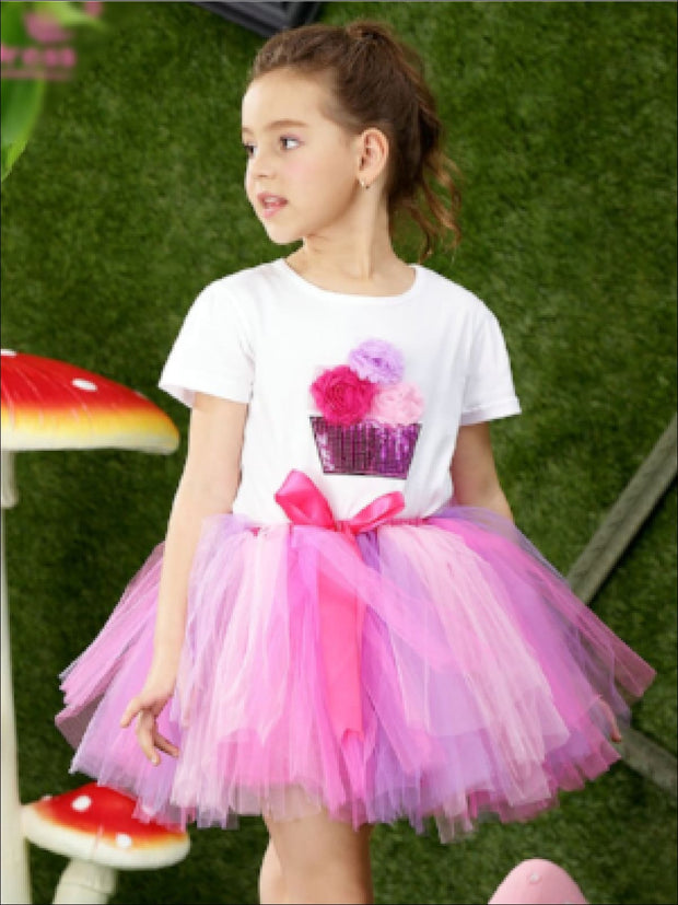 Girls Fluffy Cupcake Tutu Skirt Set - Girls Spring Dressy Set
