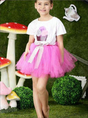 Girls Fluffy Cupcake Tutu Skirt Set - Pink / 2T - Girls Spring Dressy Set
