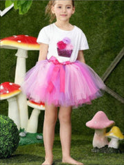 Girls Fluffy Cupcake Tutu Skirt Set - Pink Combo / 2T - Girls Spring Dressy Set
