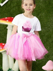 Girls Fluffy Cupcake Tutu Skirt Set - Pink Polka Dot / 2T - Girls Spring Dressy Set