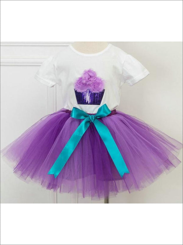Girls Fluffy Cupcake Tutu Skirt Set - Purple / 2T - Girls Spring Dressy Set