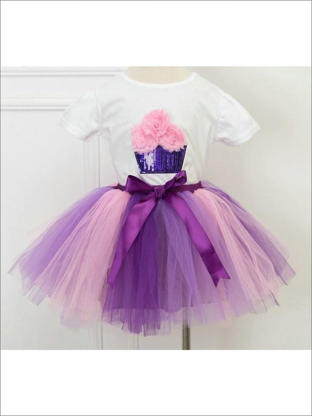 Girls Fluffy Cupcake Tutu Skirt Set - Purple Combo / 2T - Girls Spring Dressy Set