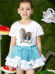 Girls Fluffy Cupcake Tutu Skirt Set - Turquoise / 2T - Girls Spring Dressy Set