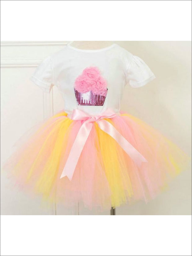 Girls Fluffy Cupcake Tutu Skirt Set - Yellow Combo / 2T - Girls Spring Dressy Set