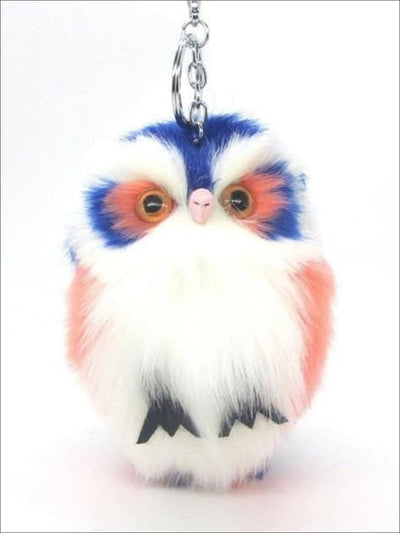 Girls Fluffy Owl Backpack Keychain Clip - Girls Accessories