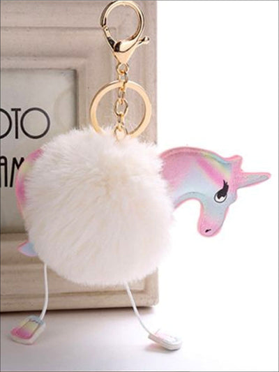 Girls Fluffy Unicorn Pom Pom Backpack Keychain Clip - Beige / 16 cm - Girls Accessories