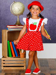 Girls Flutter Sleeve Apple Print Top & Polka Dot Overall Dress Set - Girls 1st Day of School