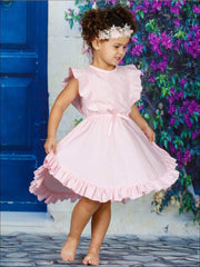 Girls Flutter Sleeve Lace Trim Ruffled Sleeve Hi Lo Dress with Bow - Pink / 2T - Girls Spring Casual Dress