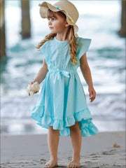 Girls Flutter Sleeve Lace Trim Ruffled Sleeve Hi Lo Dress with Bow - Girls Spring Casual Dress