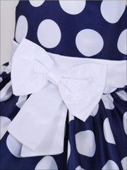 Girls Flutter Sleeve Polka Dot Bow Special Occasion Party Dress (3 Colors Options) - Girls Spring Dressy Dress