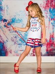 Girls Fourth of July Happy 4th of July Sleeveless Printed Top & American Flag Pom Pom Shorts Set - Girls 4th of July Set