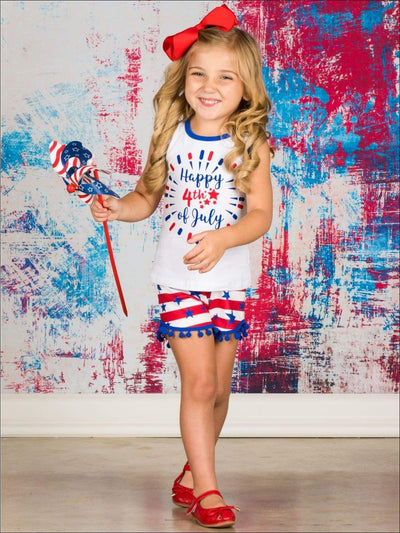 Girls Fourth of July Happy 4th of July Sleeveless Printed Top & American Flag Pom Pom Shorts Set - Red white blue / XS-2T - Girls 4th of