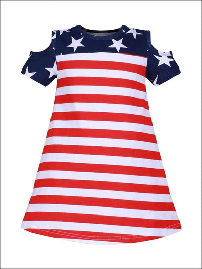 Girls Fourth of July Themed Cold Shoulder American Flag Dress - Girls 4th of July Dress