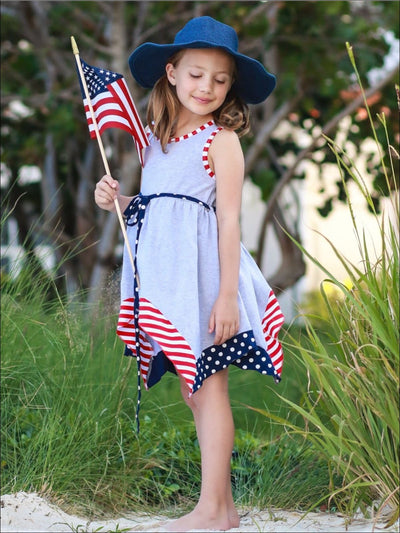 Girls Fourth of July Themed Grey Sleeveless A-Line Handkerchief Front Tie Tunic Dress - Girls 4th of July Dress