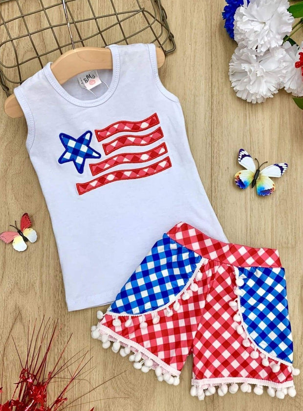 Girls Fourth of July Themed Printed Top & Overlay Pom Pom Shorts Set - Girls 4th of July Set