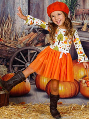 Girls Fox Print Long Ruffled Sleeve Tutu Dress with Bow - Girls Fall Casual Dress