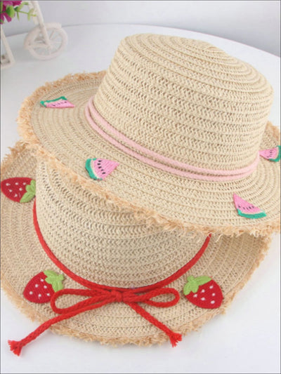 Girls Frayed Edge Fruit Embroidered Straw Hat - Girls Hats