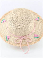 Girls Frayed Edge Fruit Embroidered Straw Hat - Pink - Girls Hats