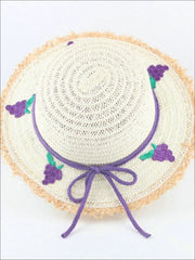 Girls Frayed Edge Fruit Embroidered Straw Hat - Purple - Girls Hats