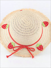 Girls Frayed Edge Fruit Embroidered Straw Hat - Red - Girls Hats