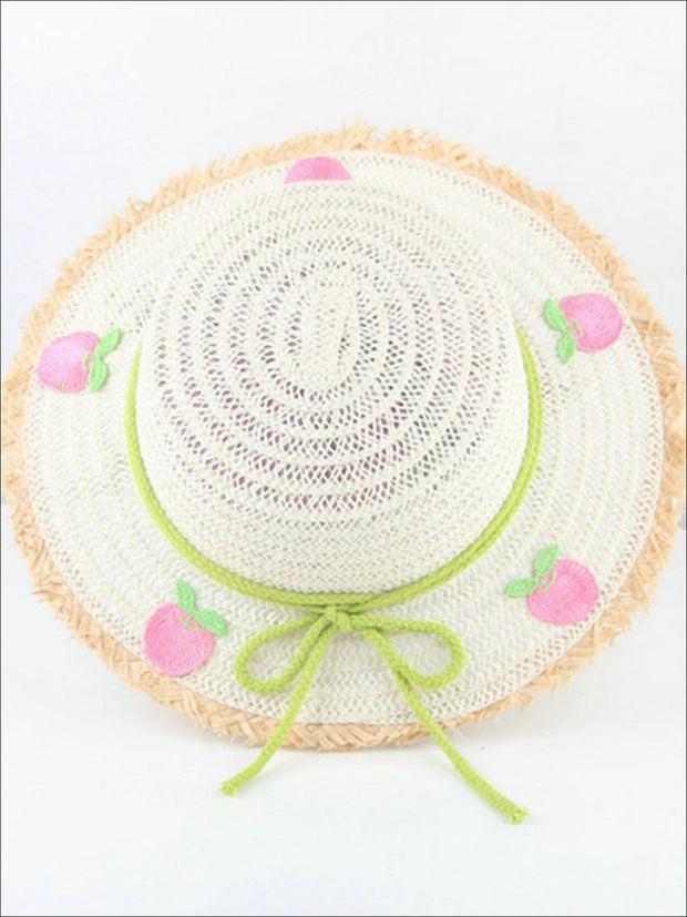 Girls Frayed Edge Fruit Embroidered Straw Hat - White - Girls Hats