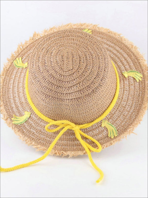 Girls Frayed Edge Fruit Embroidered Straw Hat - Yellow - Girls Hats