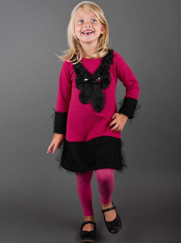 Girls Fuchsia & Black Bow Dress - Fall Low Stock