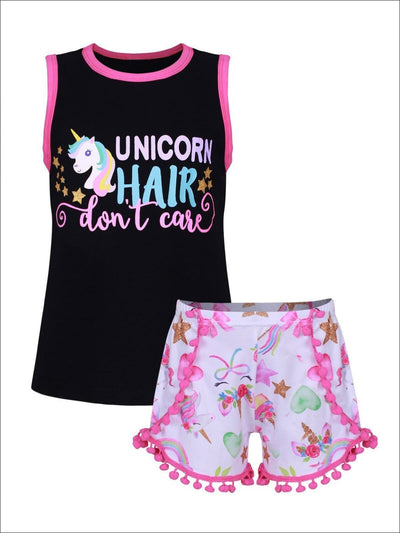 Girls Fuchsia & Black Unicorn Hair Dont Care Sleeveless Top & Matching Pom Pom Shorts - 3T / Black & Fuchsia - Girls Spring Casual Set
