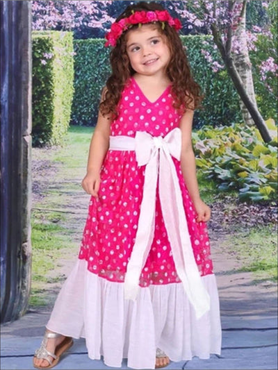 Girls Fuchsia Dot Lace Ruffle-Hem Maxi Dress - Fuchsia / 2T/3T - Girls Spring Dressy Dress