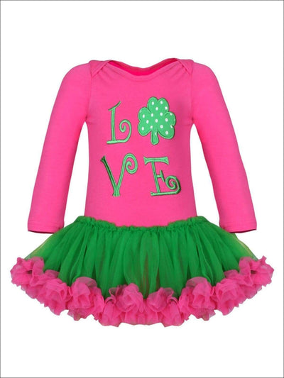 Girls Fuchsia & Green St. Patricks Day Long Sleeve Tutu Dress - Girls St. Patricks Dress