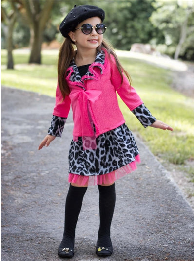 Girls Fuchsia Leopard Print blazer & Matching Skirt Set - Pink / White / 2T - Girls Fall Dressy Set