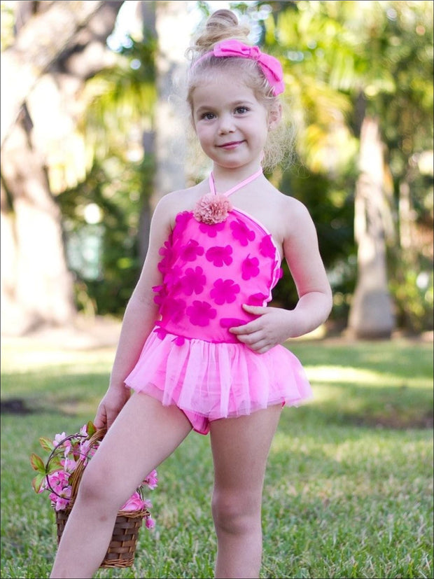 Girls Fuchsia Pink Flower Petal Skirted Tankini - Girls Two Piece Swimsuit