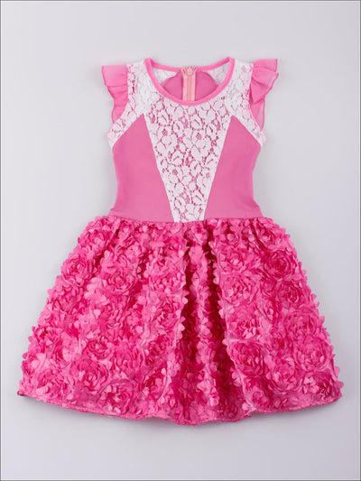 Girls Fuchsia Rosette Dress with Delicate Trim - Girls Spring Casual Dress