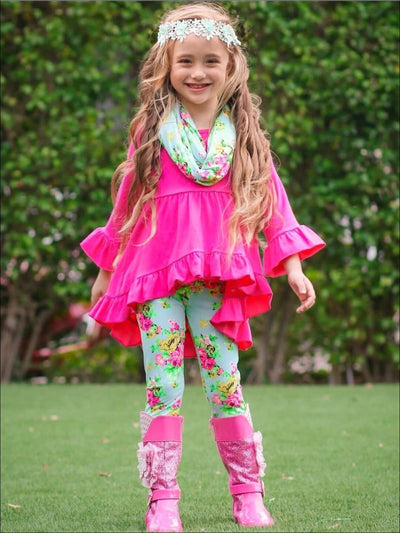 Girls Fuchsia Ruffled Flared Long Sleeve Tunic & Turquoise Floral Leggings & Scarf Set - Girls Spring Casual Set