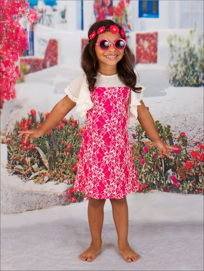 Girls Fuchsia/White Boho Dress - Girls Spring Casual Dress