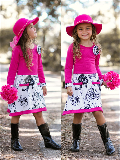 Girls Fuchsia/White/Black Floral A-Line Dress with Faux Pockets & Flower Clip - Girls Fall Dress