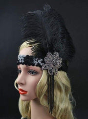 Girls Gatsby Inspired Embellished Feather Headpiece (Multiple Style Options) - Black - Hair Accessories
