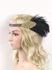 Girls Gatsby Inspired Embellished Feather Headpiece (Multiple Style Options) - Black/Gold - Hair Accessories