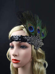 Girls Gatsby Inspired Embellished Feather Headpiece (Multiple Style Options) - Black/Peacock - Hair Accessories
